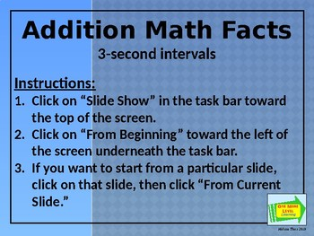 Addition Math Facts Slide Show
