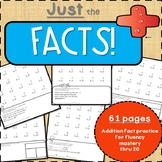 Just the FACTS!  Addition fact practice for fluency mastery thru 20