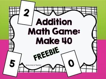 Addition Math Game-Make 40