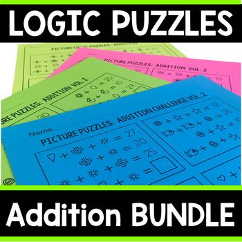 Addition Math Logic Puzzles Bundle | Addition & Addition Challenge Logic Puzzles