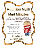 Addition Math Mad Minutes: Math Fact Fluency Tool