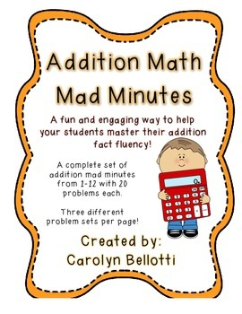 Addition Math Mad Minutes: Math Fact Fluency Tool