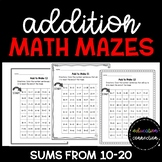 Addition Math Mazes