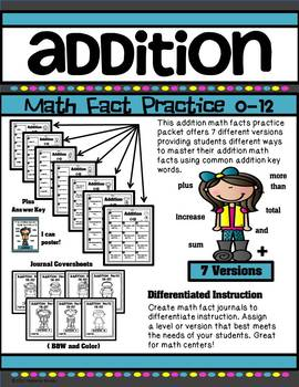 Addition Math Fact Practice 0-12