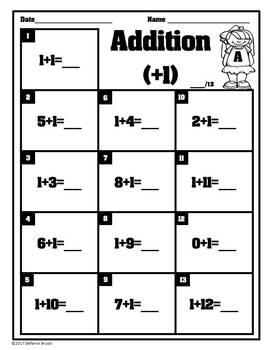 Addition Math Fact Practice 0-12