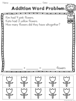 Addition Math Problems Spring Edition Cut and Paste