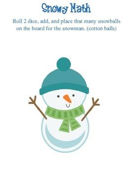 Addition Math Snowman Games