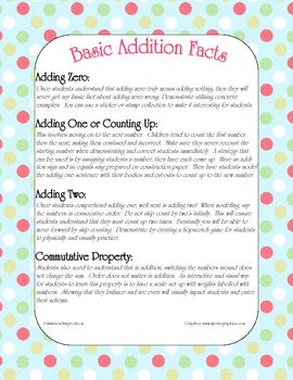 Addition Math Strategies ~ When and how to teach basic facts