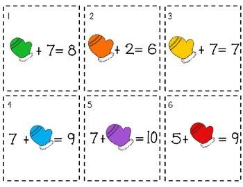 Addition Math Tubs (Mitten Math) - Winter Edition