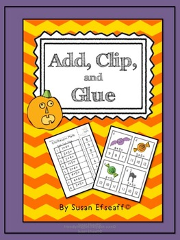 Math Tubs for Halloween-Add, Clip and Glue
