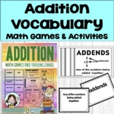 Addition Math Vocabulary Cards, Math Games and, Easel Digi