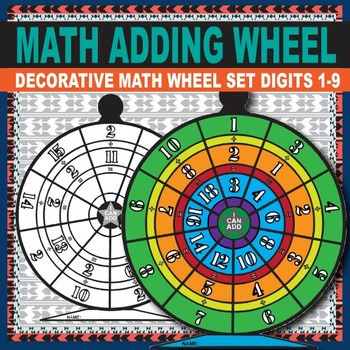 Addition Worksheets  - Colorable Student Work Wheel for Adding Facts