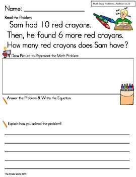 Addition Math Word Problem to 20 * Back to School* Read, D