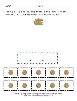 Addition Math Word Stories with Counters/Manipulatives to Help Solve. 15 Pages!