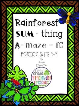Addition Math Worksheets - Rainforest themed