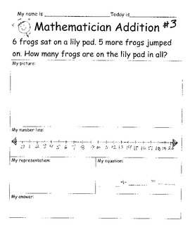 Addition Mathematician Word Problem Practice Sheets