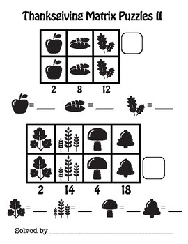 Addition Matrix Puzzles - Thanksgiving Math - CUSTOMIZE!