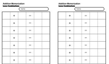 Addition Memorization Booklet