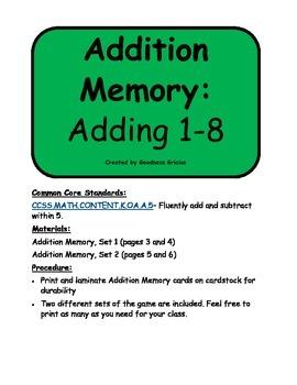 Addition Memory: Adding 1-8