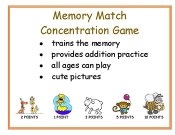 Addition, Memory, Concentration Card Game