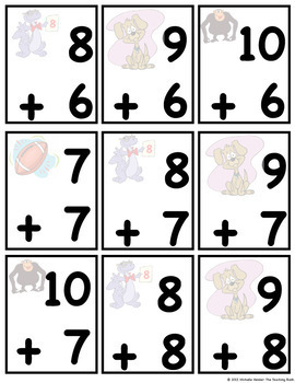 Addition Basic Facts Memory Game