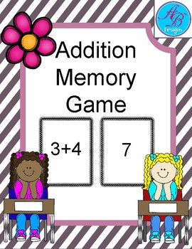 Addition Memory Game. Great for practicing addition