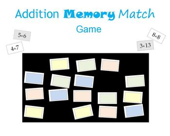 Addition Memory Match Game