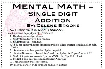 Addition Mental Math Cards