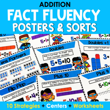 Addition Mental Math Strategy Posters - Super Hero Theme