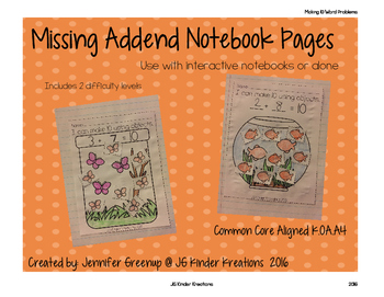 Addition Missing Addend Notebook
