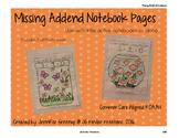 Addition Missing Addend Notebook