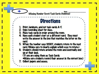 Addition Missing Number Scoot/Task Cards