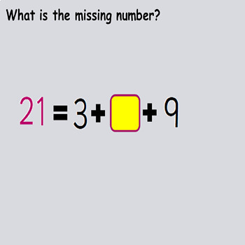 Addition Missing Numbers 3 Single-Digit Equations, Presentation  Worksheets