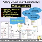Addition Missing Numbers 3 Single-Digit Equations, Present