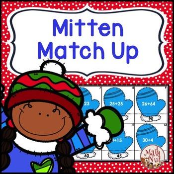 "Christmas Math ""2 digit plus 2 digit Addition"" (Mitten Match Up)"