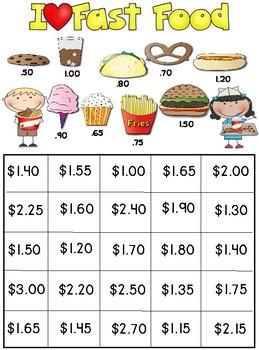 Addition Money Bingo Mental Math Game