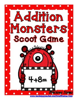 Addition Monster up to 20 Scoot Game