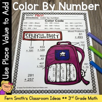 3rd Grade Go Math 1.7 Use Place Value to Add Multi-Digit Numbers Color By Number