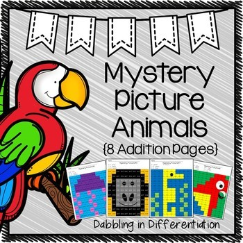 Addition Mystery Picture Animals- Doubles, Doubles +1, Mak