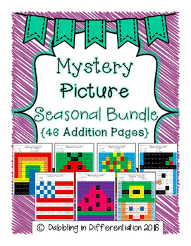 Addition Mystery Picture Seasonal Bundle {46 Addition Pages}
