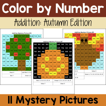 Addition Mystery Pictures: Fall Packet