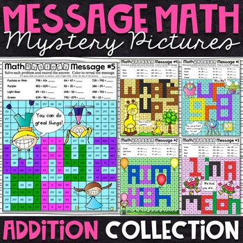 Addition Mystery Pictures   Addition Color by Number