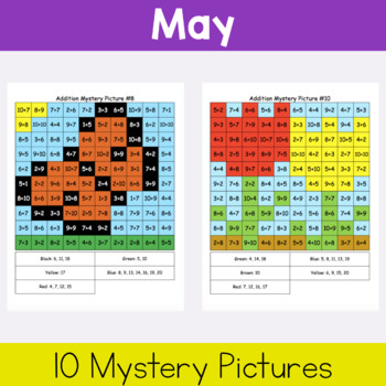 Addition Mystery Pictures: Spring Packet