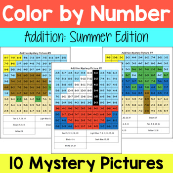 Addition Mystery Pictures: Summer Packet