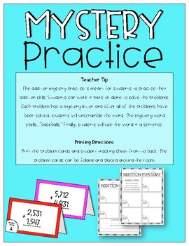 Addition Mystery Practice 4 by 4 Problems