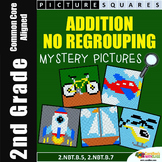Addition Without Regrouping 2nd Grade Mystery Pictures Worksheets