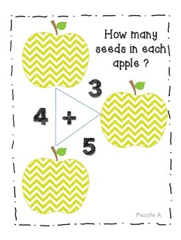 Apple Addition Number Bond Puzzles (Arithmagons) CCSS MP1