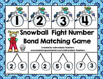Addition Number Bond Snowball Fight Matching Game 1-10