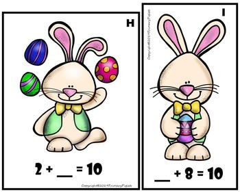 Addition Number Bonds Sums of 10 Missing Addends Math Center, Easter Edition