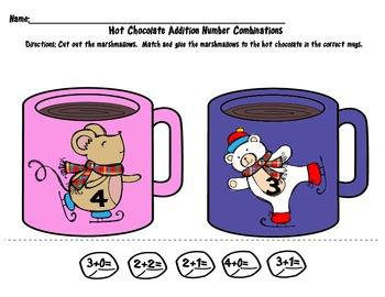 Addition Number Combinations with Hot Chocolate & Marshmallows- Winter Animals